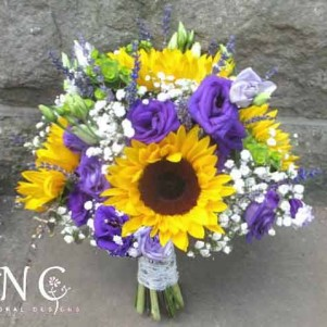 sunflower purple bouquet gyp wedding
