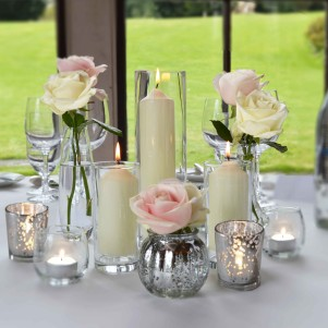 table centerpiece swinton park silver mercury tea lights candles rose bud vases
