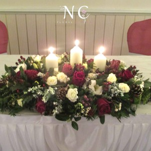 top table, bingley oakwood, top table, ceremony flowers, canles, cream, red, wine
