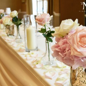 top table gold vases candles jars flowers top table