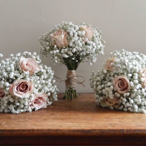 wedding flowers leeds GYPSOPHILA BOUQUETS WITH QUICKSAND ROSES BRIDESMAIDS