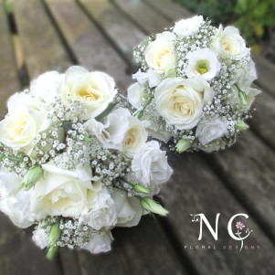 white bridesmaid boquuets, lisianthus, rose, gyp